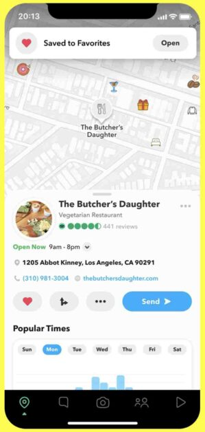 My Place feature in Snapchat, Snapchat dark mode, Snap map My places