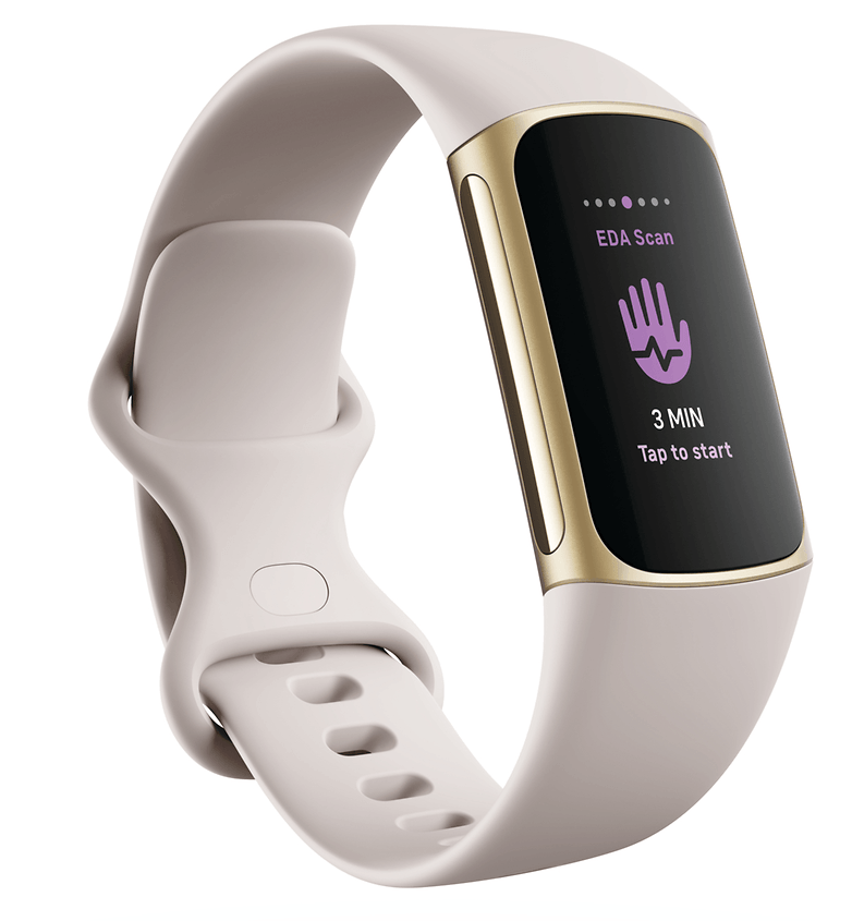 Fitbit Charge 5 Render 3QTR Core Lunar White Soft Gold EDA