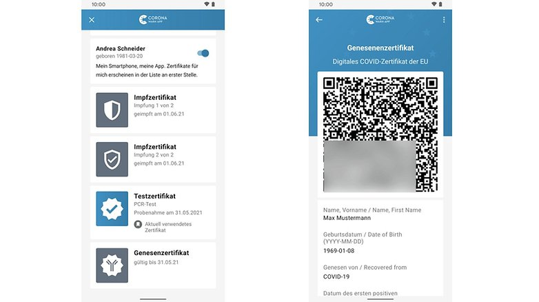 Corona Warn App recovery certificates