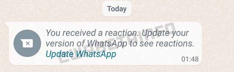 WhatsApp message reaction