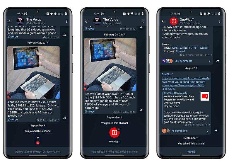 telegram update swipe unread channels