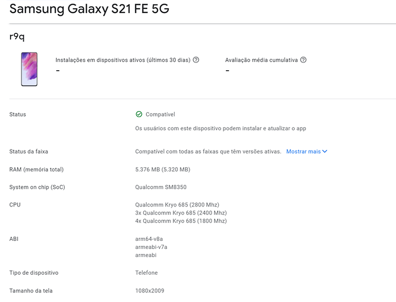 Galaxy S21 FE Google Play Console