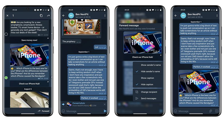 telegram new update forwarded messages