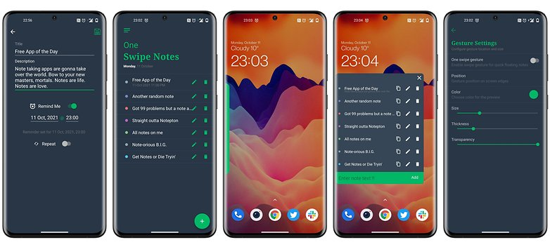 free app android one swipe notes